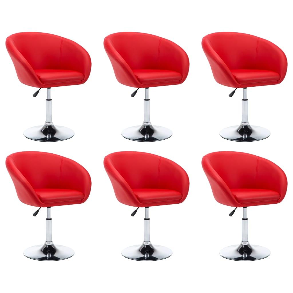 vidaXL Καρέκλες Τραπεζαρίας 6 τεμ. Κόκκινες 67,5×58,5×87 εκ. Δερματίνη
