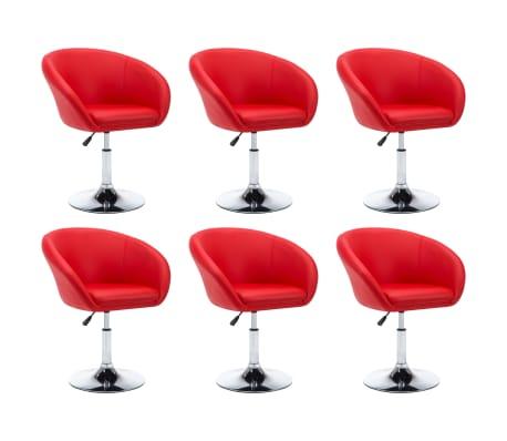 vidaXL Drehbare Esszimmerstühle 6 Stk. Kunstleder Rot