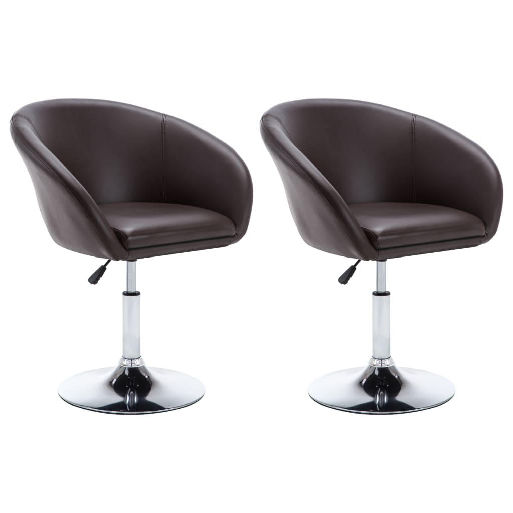vidaXL Καρέκλες Τραπεζαρίας Περιστρεφόμενες 2 τεμ. Καφέ από Δερματίνη