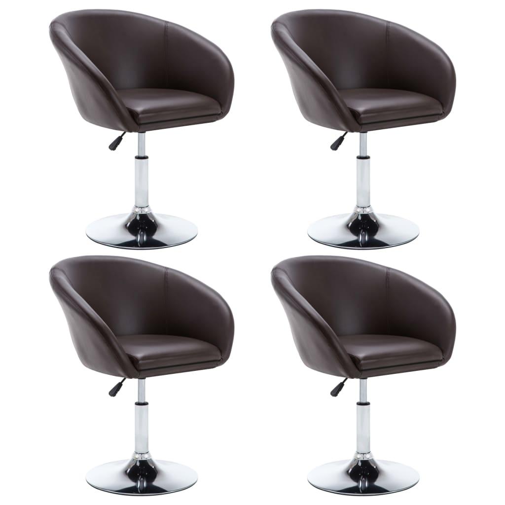vidaXL Καρέκλες Τραπεζαρίας 4 τεμ. Καφέ 67,5×58,5×87 εκ. Δερματίνη
