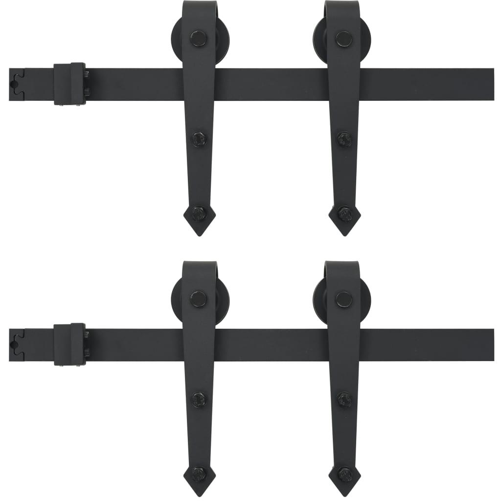 Afbeelding van vidaXL Onderdelenset voor schuifdeur 2x183 cm staal zwart