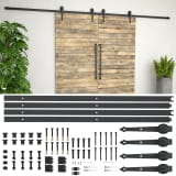 vidaXL Kit de ferragens para porta deslizante 2x183 cm aço preto