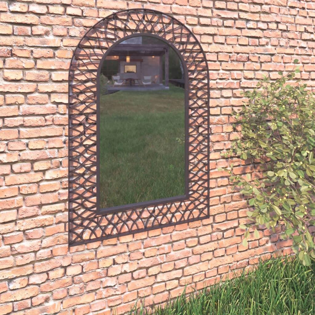 vidaXL Lustro ścienne do ogrodu, łukowe, 50 x 80 cm, czarne