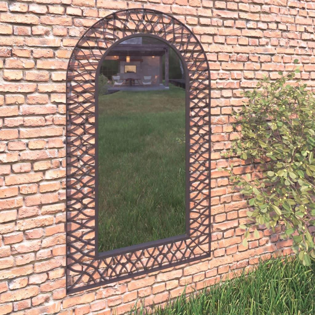 vidaXL Lustro ścienne do ogrodu, łukowe, 60 x 110 cm, czarne