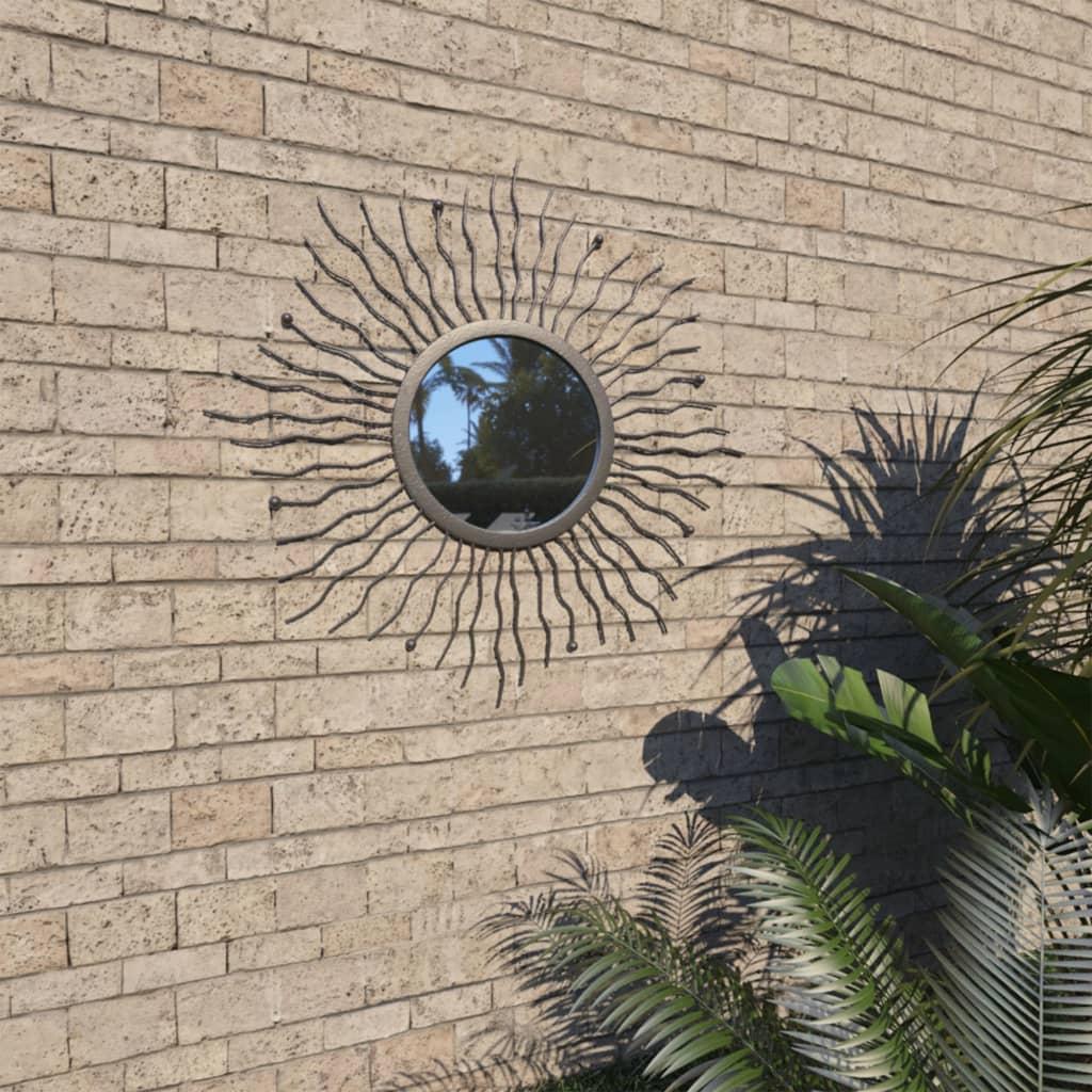 vidaXL Zahradní nástěnné zrcadlo Zářící slunce 60 cm černé