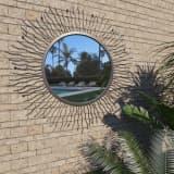 vidaXL Miroir mural de jardin Rayons de soleil 80 cm Noir