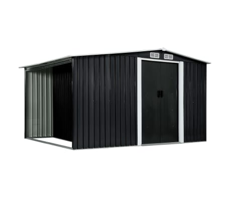 vidaXL Garden Shed with Sliding Doors Anthracite 329.5x131x178 cm Steel