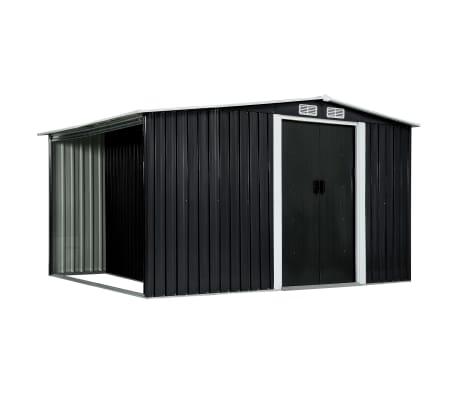 vidaXL Záhradná kôlňa s posuvnými dverami antracitová 329,5x131x178 cm oceľová[1/10]