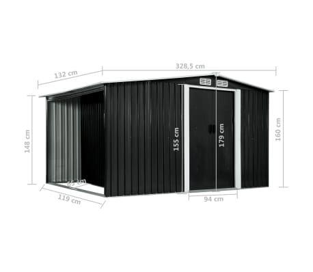 vidaXL Záhradná kôlňa s posuvnými dverami antracitová 329,5x131x178 cm oceľová[10/10]