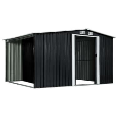 vidaXL Záhradná kôlňa s posuvnými dverami antracitová 329,5x131x178 cm oceľová[3/10]