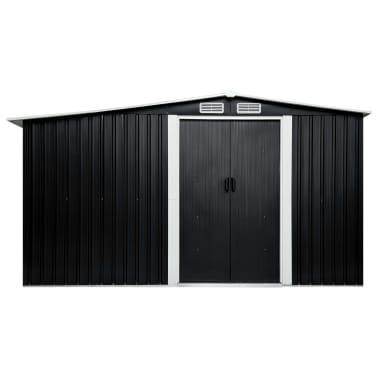 vidaXL Záhradná kôlňa s posuvnými dverami antracitová 329,5x131x178 cm oceľová[4/10]