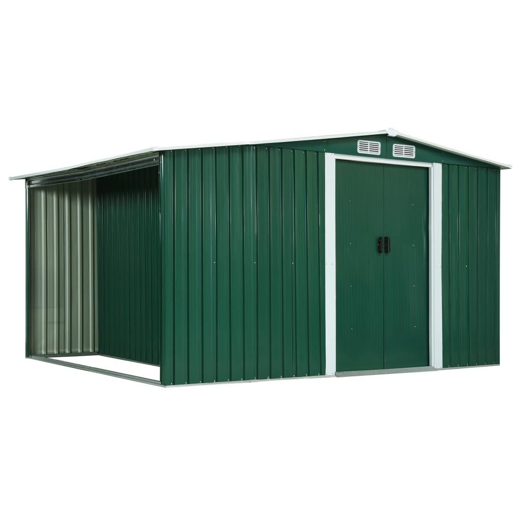 vidaXL Șopron de grădină cu uși glisante verde 329,5x205x178 cm oțel vidaxl.ro