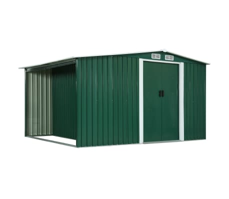 vidaXL Garden Shed with Sliding Doors Green 329.5x205x178 cm Steel