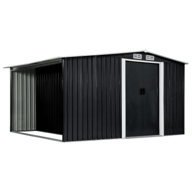 vidaXL Záhradná kôlňa s posuvnými dverami antracitová 329,5x259x178 cm oceľová[1/7]