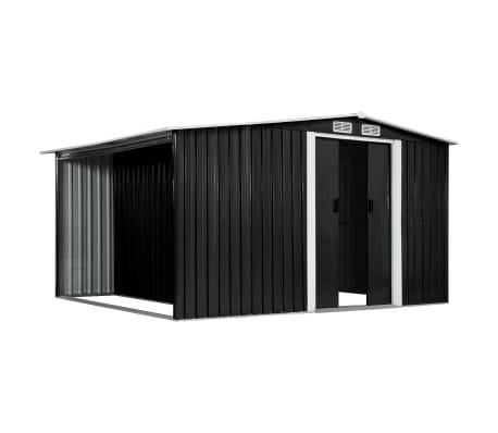 vidaXL Záhradná kôlňa s posuvnými dverami antracitová 329,5x259x178 cm oceľová[3/7]