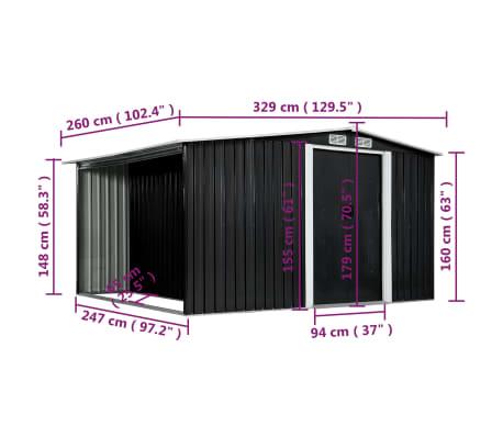 vidaXL Záhradná kôlňa s posuvnými dverami antracitová 329,5x259x178 cm oceľová[7/7]