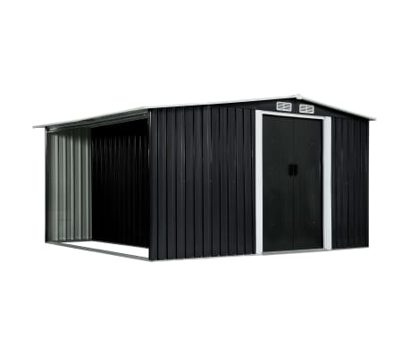 vidaXL Garden Shed with Sliding Doors Anthracite 329.5x312x178 cm Steel