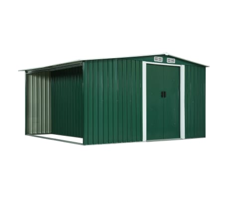 vidaXL Garden Shed with Sliding Doors Green 329.5x312x178 cm Steel