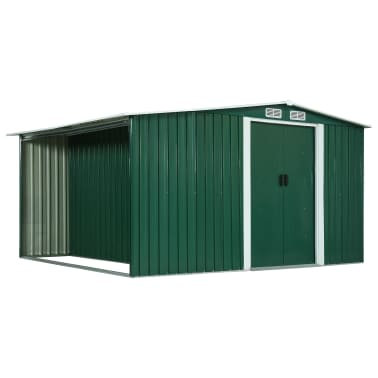 vidaXL Zahradní domek posuvné dveře zelený 329,5 x 312 x 178 cm ocel[1/10]