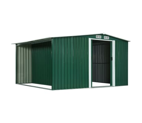 vidaXL Zahradní domek posuvné dveře zelený 329,5 x 312 x 178 cm ocel[3/10]