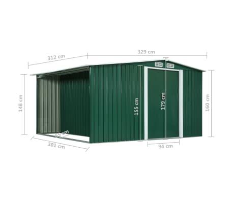 vidaXL Zahradní domek posuvné dveře zelený 329,5 x 312 x 178 cm ocel[10/10]