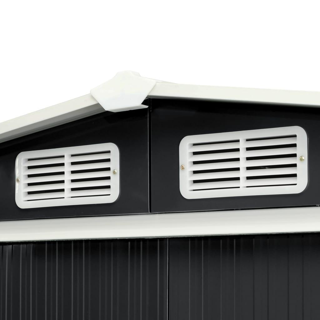 Tuinschuur met schuifdeuren 386x131x178 cm staal antraciet