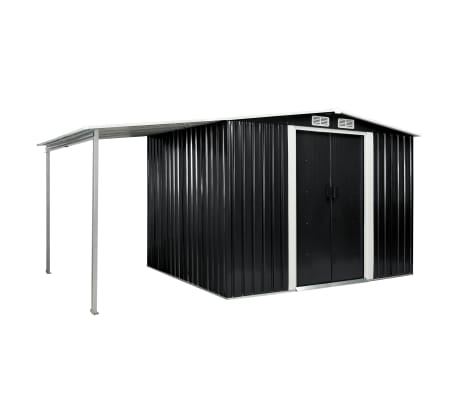 vidaXL Garden Shed with Sliding Doors Anthracite 386x205x178 cm Steel