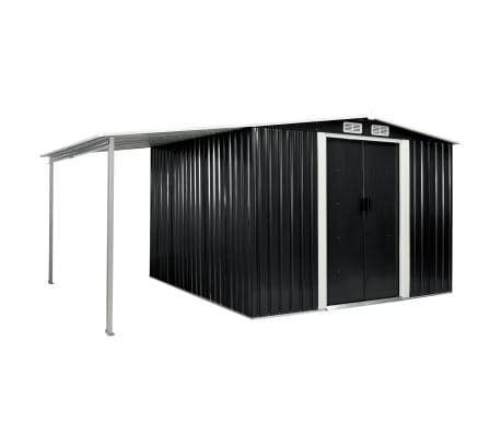 vidaXL Garden Shed with Sliding Doors Anthracite 386x259x178 cm Steel