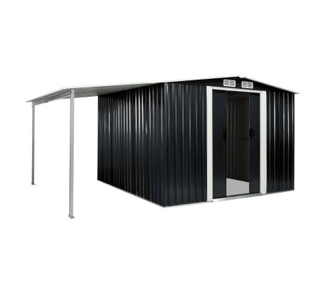 vidaXL Tuinschuur met schuifdeuren 386x259x178 cm staal antraciet[2/10]
