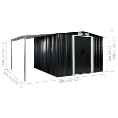 vidaXL Tuinschuur met schuifdeuren 386x259x178 cm staal antraciet[10/10]