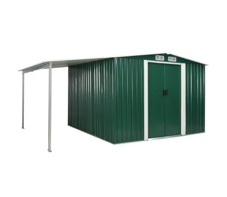 vidaXL Zahradní domek s posuvnými dveřmi zelený 386x259x178 cm ocel