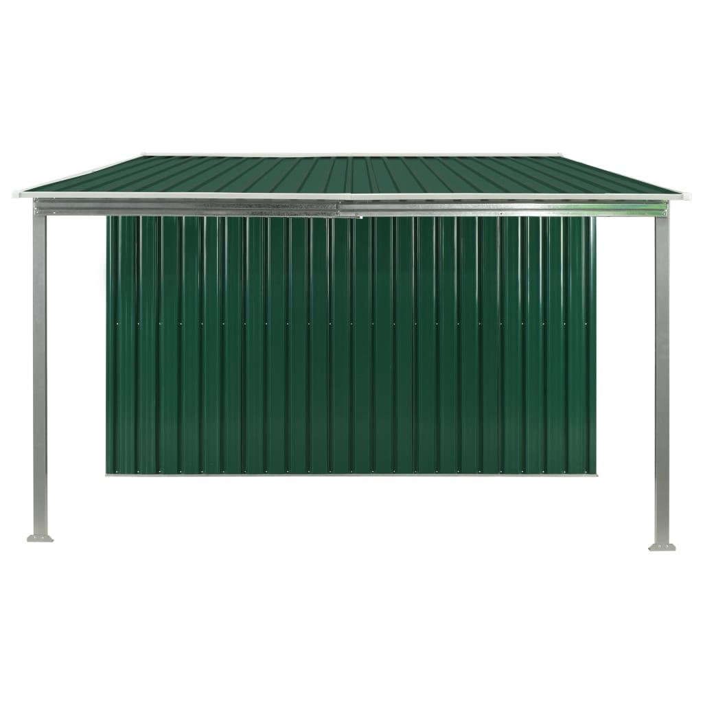 Tuinschuur met schuifdeuren 386x259x178 cm staal groen
