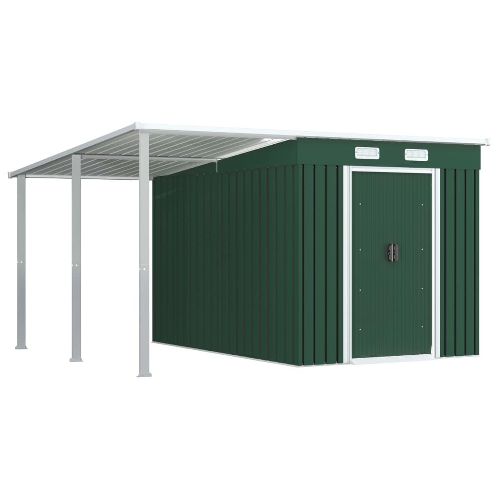 vidaXL Tuinschuur met verlengd dak 336x270x181 cm staal groen