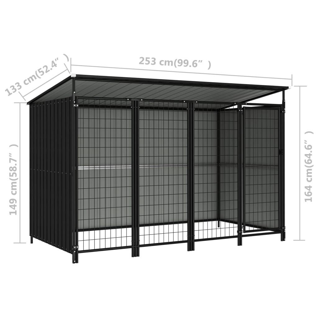 vidaXL Hondenkennel voor buiten 253x133x164 cm