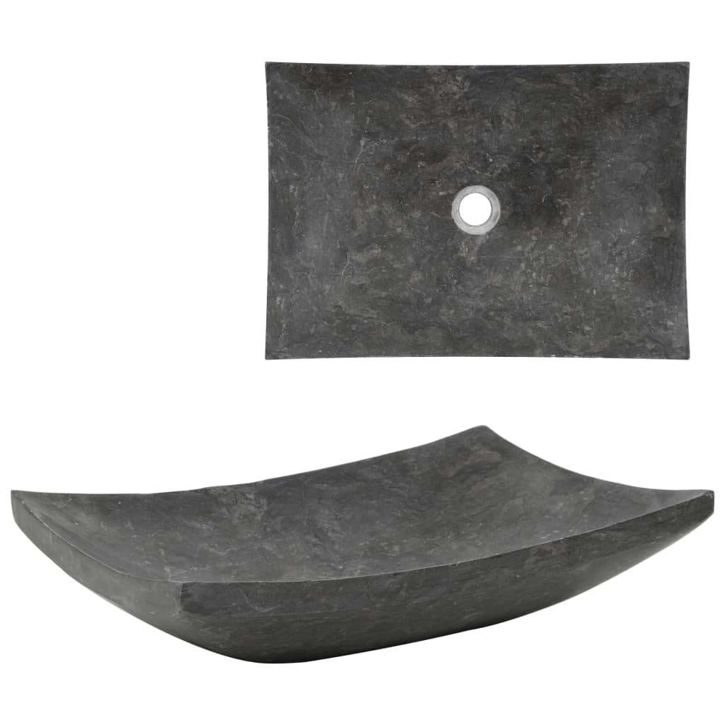 vidaXL Chiuvetă, negru, 50 x 35 x 12 cm, marmură vidaxl.ro