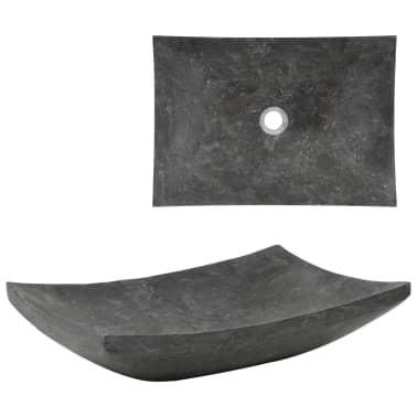 vidaXL Waschbecken 50×35×12 cm Marmor Schwarz[1/7]