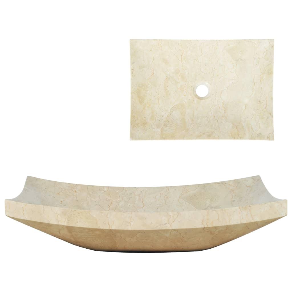 vidaXL Chiuvetă, crem, 50 x 35 x 12 cm, marmură imagine vidaxl.ro