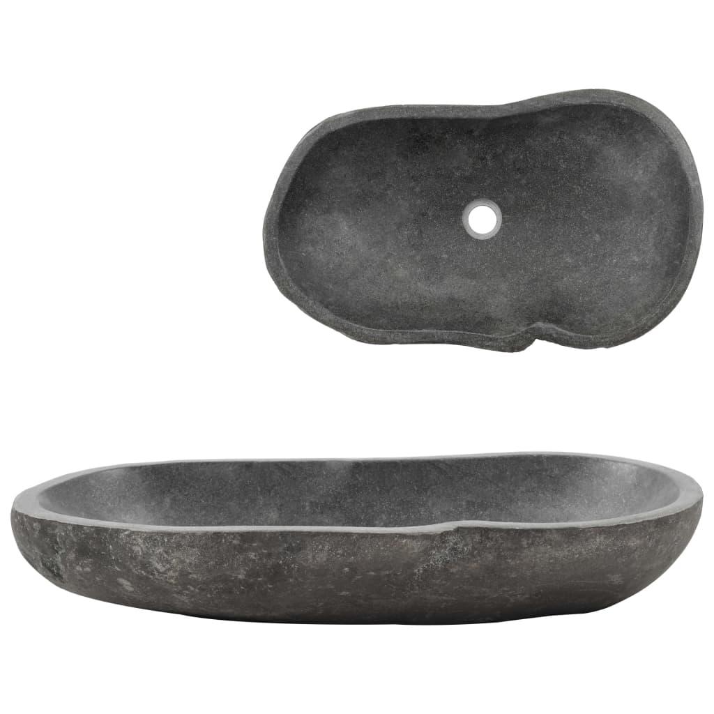 vidaXL Chiuvetă din piatră de râu, 60-70 cm, ovală imagine vidaxl.ro
