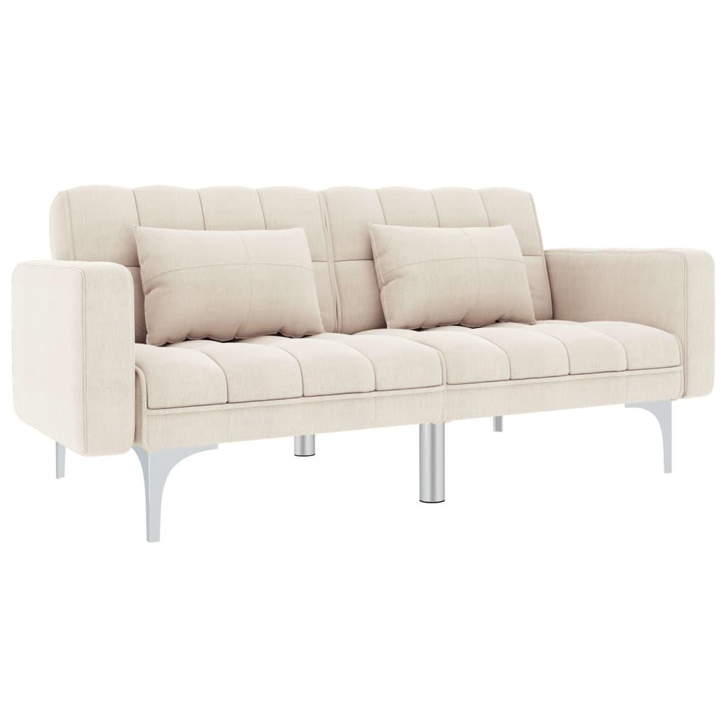 vidaXL Sofa rozkładana, kremowa, tapicerowana tkaniną
