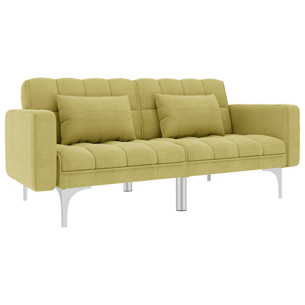 vidaXL Sofa rozkładana, zielona, tapicerowana tkaniną