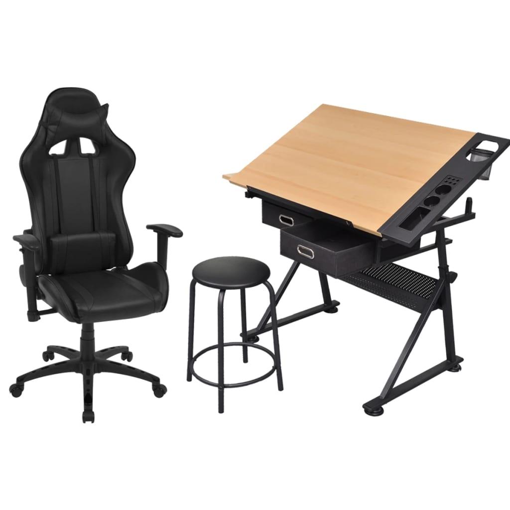 Afbeelding van vidaXL Kantelbare tekentafel met kantoorstoel