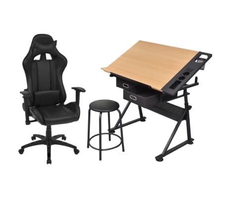 vidaXL Mesa de dibujo inclinable con silla de oficina