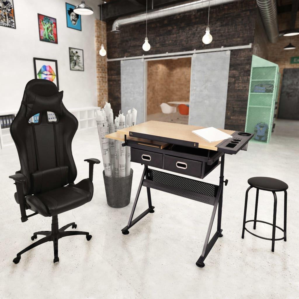 Kreslící stůl s naklápěcí deskou a kancelářské křeslo Racing