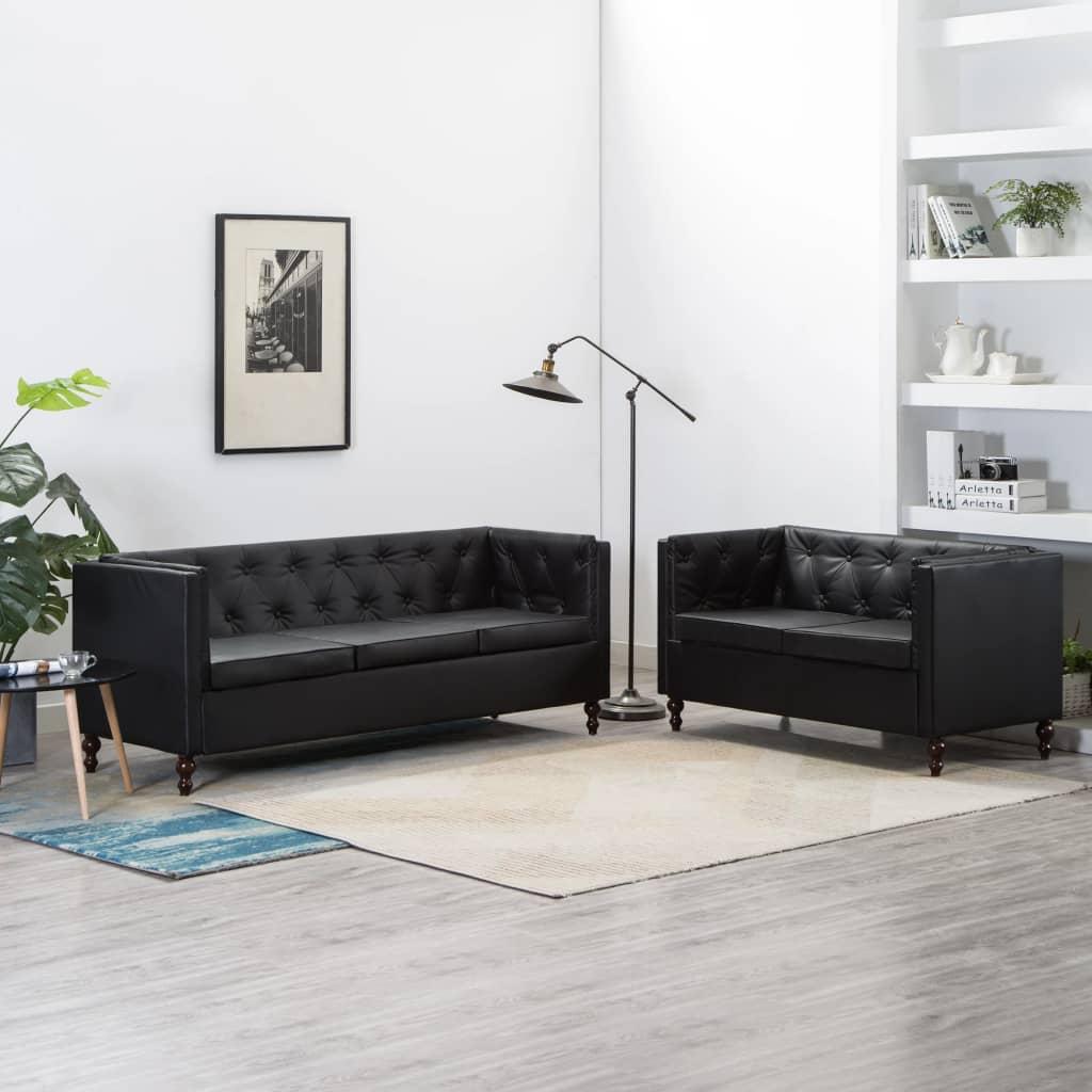 Canapé 3 places Noir Cuir Luxe Chesterfield Confort