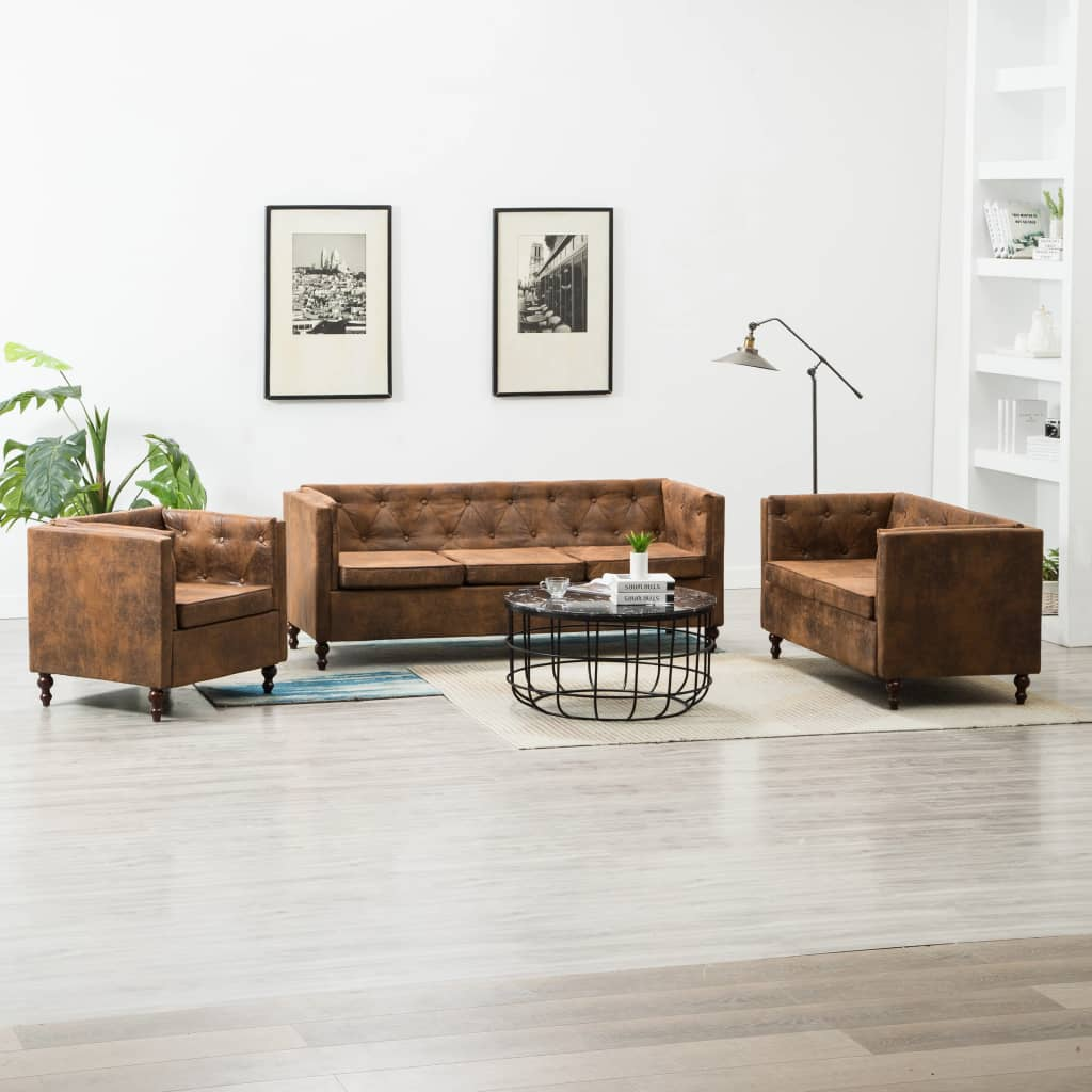 Canapé 3 places Marron Tissu Luxe Chesterfield Confort