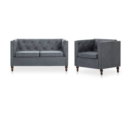 vidaxl chesterfield sofa set 2 tlg stoffpolsterung grau. Black Bedroom Furniture Sets. Home Design Ideas