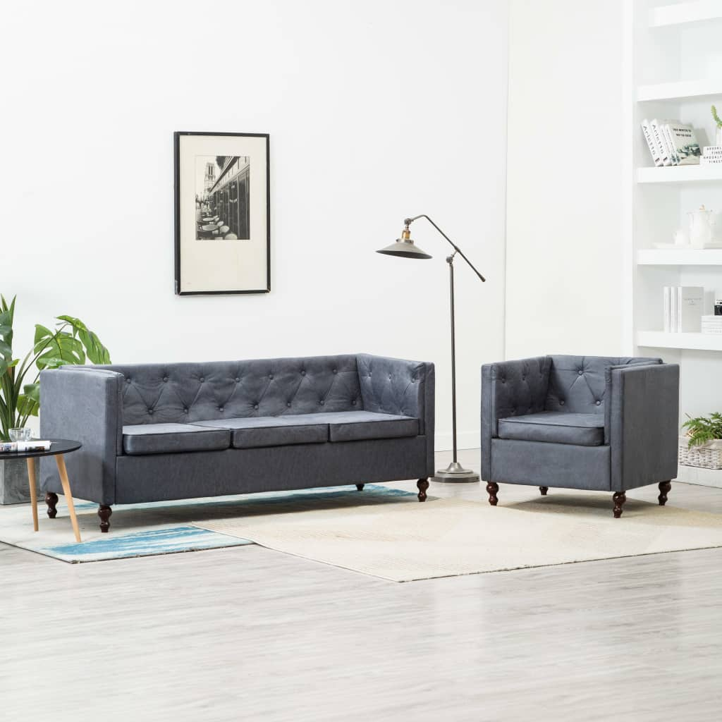 Canapé 3 places Gris Tissu Luxe Chesterfield Confort