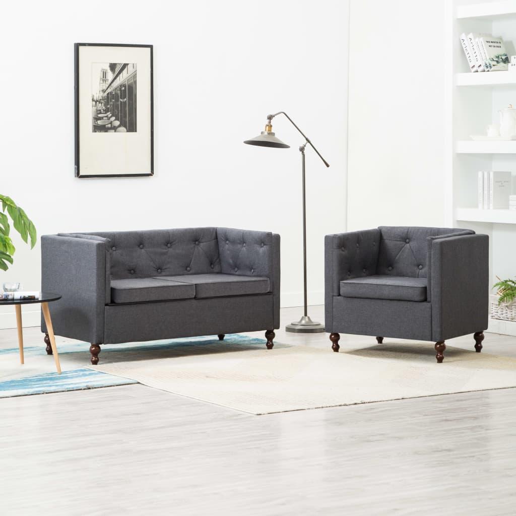 Chesterfield Sofa-Set 2-tlg. Stoffpolsterung Dunkelgrau