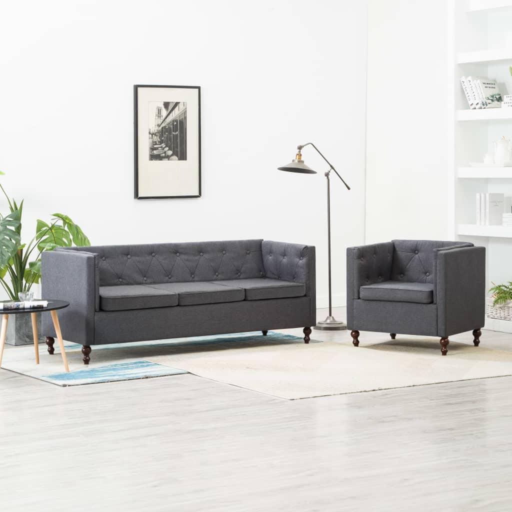 vidaXL Set canapele Chesterfield 2 piese gri închis tapițerie textilă imagine vidaxl.ro