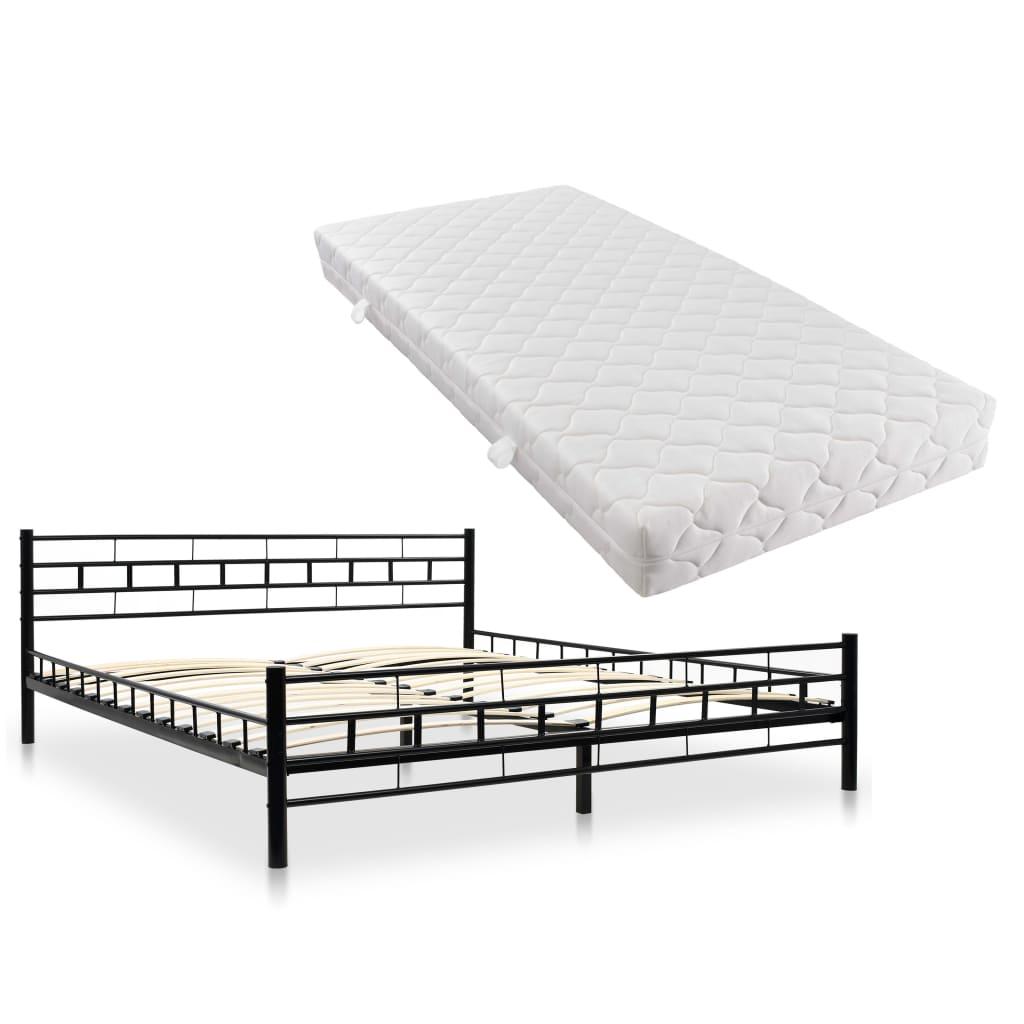 vidaXL Kovová postel s matrací 180 x 200 cm černá blokový design
